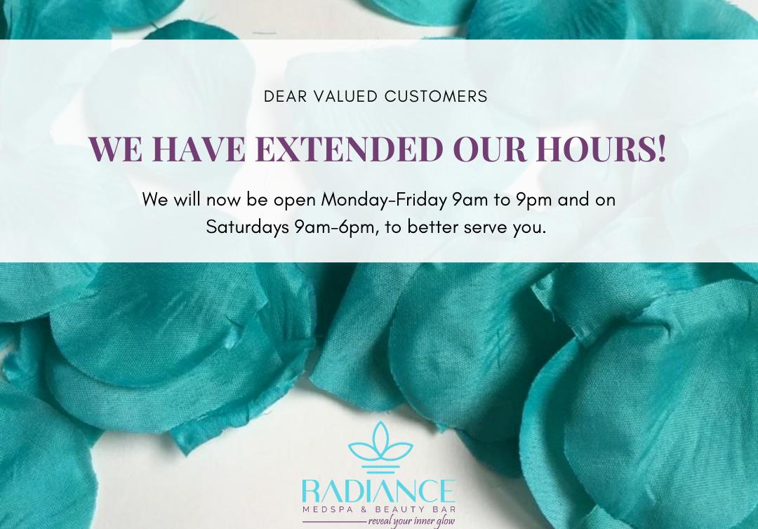 extended hours Radiance Medspa Scarborough